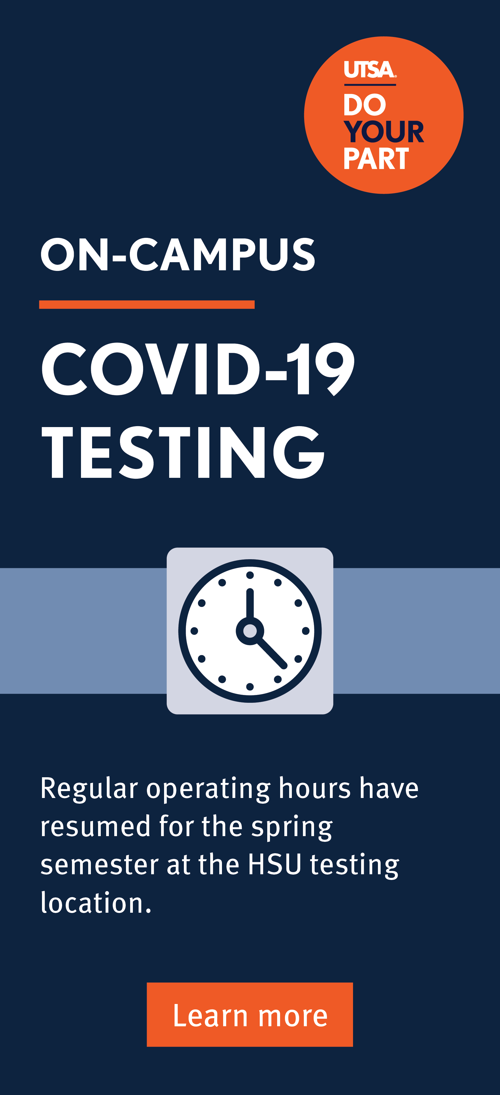 COVID testing hours for Spring 2021